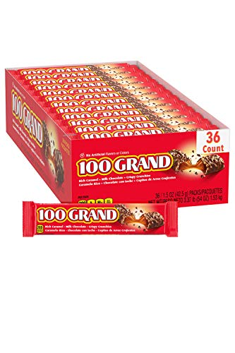 100 Grand Milk Chocolate Candy Bars Full Size Bulk Individually Wrapped Ferrero Candy Perfect Easter Egg Basket Stuffers Pack of 36