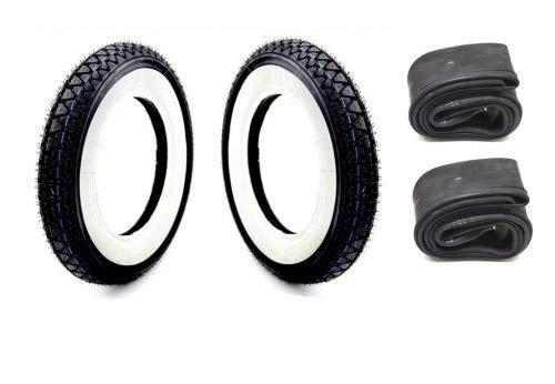 2x Weißwand Reifen Schlauch Satz Kenda 3.50-10 Zoll 4PR 51J für Roller/Scooter, Hercules CV Dax 50 ST70 ZB50 Monkey