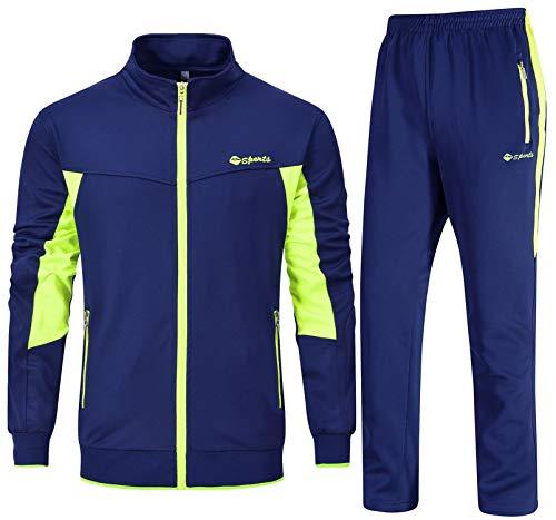 YSENTO Chándal completo para hombre ideal para jogging y gimnasio [Transpirabilidad del sudor] con cuello alto
