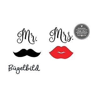 Bügelbild Set Mrs. & Mr. mit Bart und Lippen zum Aufbügeln für Maske, Hochzeit, JGA