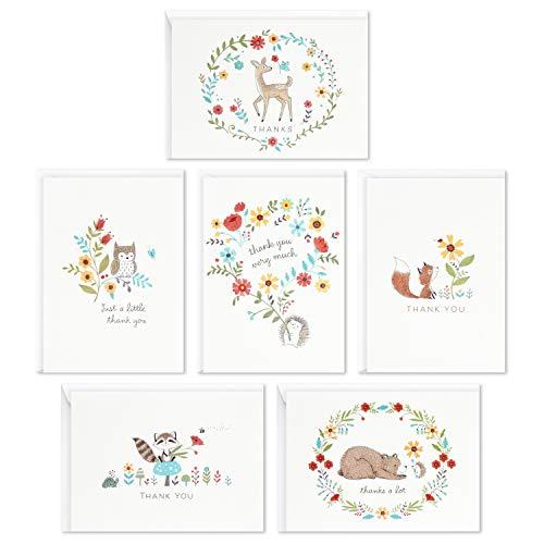 Hallmark Conjunto de cartões de agradecimento para chá de bebê, animais da floresta (48 cartões com envelopes para bebê menino ou menina) veado, coruja, urso, raposa