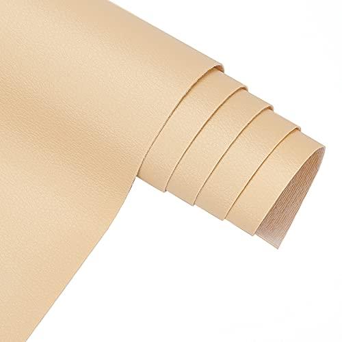 BENECREAT 33x140cm Tinta Unita Finto Litchi in Pelle Sintetica Impermeabile per Vestire Cucito Artigianale (Beige, 0.5mm di Spessore)