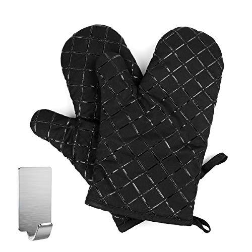 Gants de four, gants antidérapants résistants aux hautes températures, utilisés pour la cuisine, le barbecue, la patisserie, l isolation thermique des gants épaissis, une paire de noir (2)