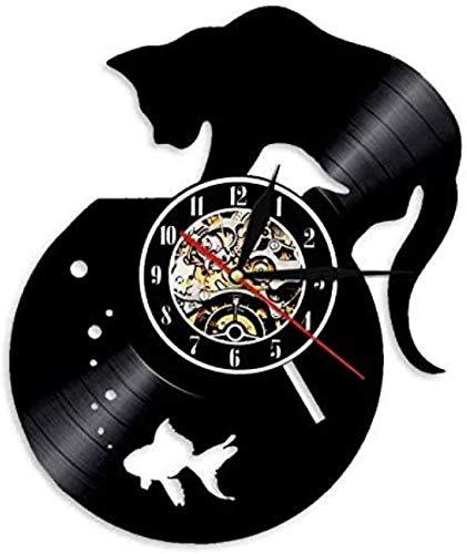 Reloj de Vinilo, Gato Negro y pecera, Reloj de Pared con Registro de Vinilo, Hecho a Mano para Amantes de los Gatos, Personalidad, Animales, decoración, Relojes (12 30 cm)