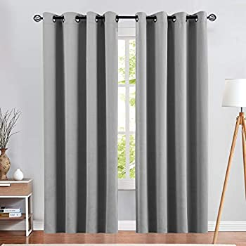 Grey Curtain 84 inches Long for Living Room Room Darkening Window Curtain Panel for Bedroom Triple Weave Moderate Blackout Drape Grommet Top,52  W x 84  L,1 Panel Gray