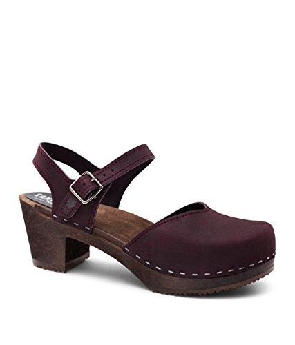 Sandgrens Swedish Wooden High Heel Clog Sandals for Women, US 9-9.5 | Victoria Plum DK, EU 40