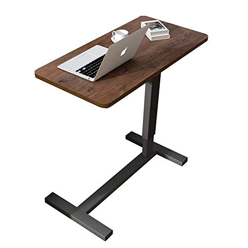 QNN Mesa, Lado de Madera Iza, Estructura de Metal/Teléfono para Sofá Junto a la Cama, Se Puede Utilizar para Leer en el Sofá Junto a la Cama, Marrón