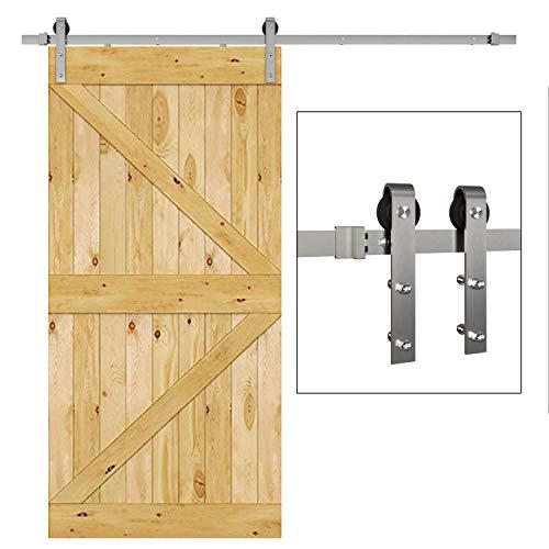 JUBEST Satin Nickel Sliding Barn Door Hardware Kit Smoothly and Quietly Hanger Roller Flat Track Kit J Shape Roller