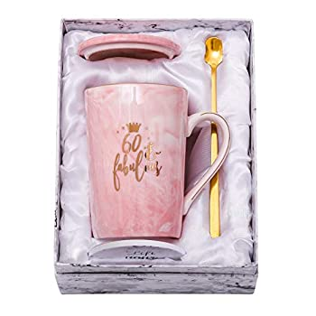 ShinnyWis 60 and Fabulous Mug - 60th Birthday Gifts for Women - 60th Anniversary Gift Idea for Women Her Wife Mom Grandma Sister BFF Friend 14oz birthday Mug