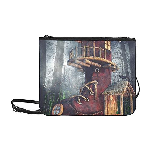 Fantasie-Schuh-Haus-Halloween-Kürbise-Dunkelheit Stock-Illustration-Muster-Gewohnheit hochwertige Nylon-dünne Handtasche Umhängetasche mit Umhängetasche