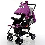 Not a brand Cochecito de Alta Gama Plegable de Tela de Lycra, Cochecito de bebé Carro de bebé (Color : Purple)