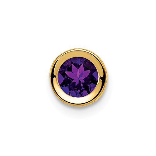 14k Yellow Gold 5mm Purple Amethyst Bezel Pendant Charm Necklace Slide Chain Gemstone Fine Jewelry For Women Gifts For Her