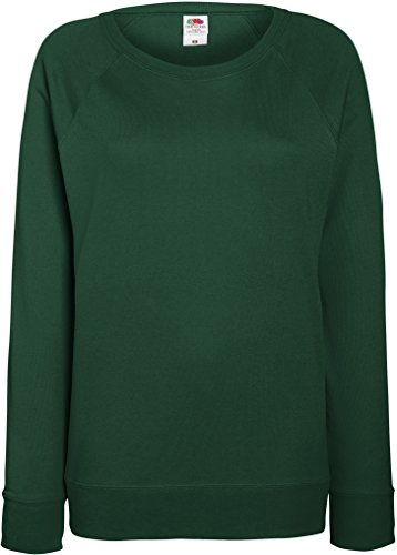 Fruit of the Loom Lightweight Raglan Sweatshirt - Lady-fit Plain Top - Botella Verde (XS)