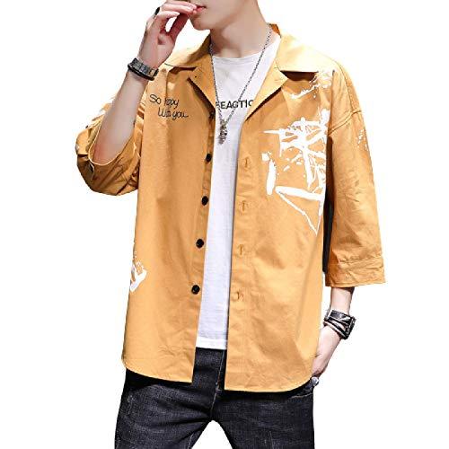 Camisas de Carga para Hombres Tendencia de impresión Casual Relajado Moda Retro Tendencia Clásica Camisa Regular de un Solo Pecho Top XL
