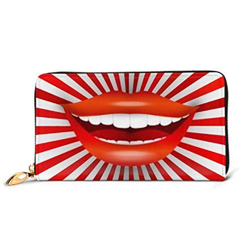 JHGFG Bolso de Moda Cartera con Cremallera Feliz Sonriente Mujer Boca en teléfono Rojo Cartera de Embrague Cartera de Noche Bloqueo de Billetera de Cuero Organizador de múltiples Tarjetas