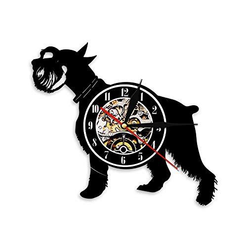 BBZZL Perro Schnauzer Silueta decoración de Pared Vinilo Arte Registro Reloj de Pared Animal Cachorro Reloj de Pared 3D Amante Mascota Sin LED