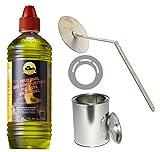 Moritz Set de iniciación 2 x 1000 ml de gel combustible + 1 x lata de 500 ml con tapa + 1 x matamlas + 1 x placa de ahorro para quemadores de chimenea, horno, quemador de seguridad, pasta combustible