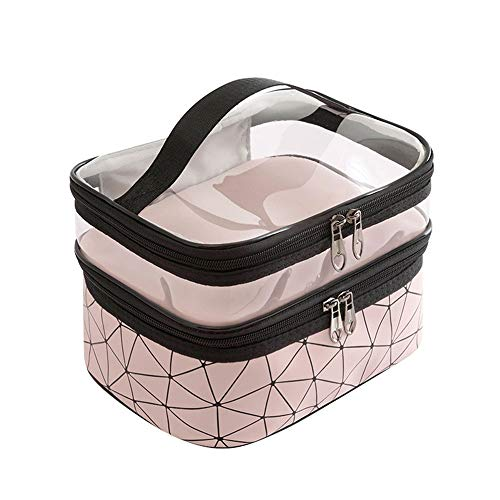 Wangxin® Cosmetic Bag One Pack Double Usage Double Top Et Bottom Femmes Ins Petit Style Portable Simple Sac De Lavage De Grande Capacité Sac Cosmétique Voyage Pink