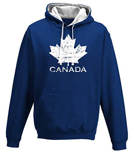 Shirt Happenz Kanada Vintage Ahornblatt Canada CAN Maple Leaf Premium Varsity Hoodie Pulli Kontrasthoodie Kapuzenpullover, Größe:XL, Farbe:Royalblau Weiss JH003