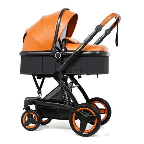YXCKG Cochecitos De Bebé Convertibles Compactos, Sistema De Viaje Cochecito De Bebé Sillas De Paseo Portátil, Cochecito Multifuncional Paraguas De Alta Vista Cochecito De Bebé (Color : Orange)