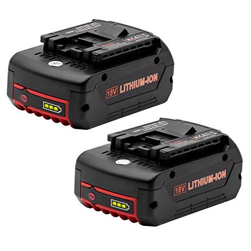 Vinso Lot de 2 batteries de rechange pour Bosch BAT609 Bosch 18 V 5 Ah 2607336092 2607336236 2607336170 2607336235 Bosch GBA BAT609 BAT609G BAT619 BAT621 BAT620 avec indicateurs LED