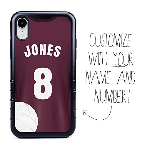 Custom Volleyball Jersey Case for iPhone XR by Guard Dog - Personalized Sports - Your Name and Number on a Protective Hybrid Phone Case (Black Case, Maroon Jersey, Black Silicone)