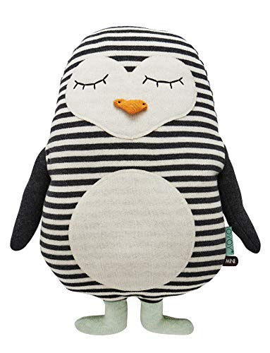 OyOy Mini Penguin Pingo Cushion Stofftier Pinguin - Süßes Baby Kinder Kissen Kuschelkissen und Schmusekissen Beige Schwarz - Baumwolle 41 x 31 x 10 cm