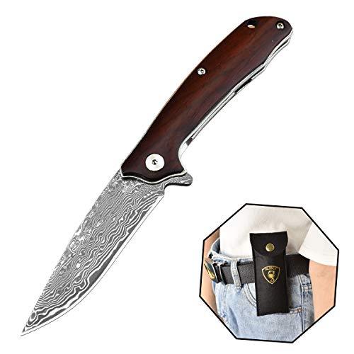 AUBEY Damast Klappmesser Outdoor Taschenmesser Holzgriff Klapp - Messer Holz Damastmesser Einhandmesser Scharf mit Flipper Pocket Knife, Geschenke Männer