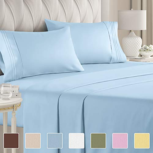 Queen Size Sheet Set - 4 Piece - Hotel Luxury Bed Sheets - Extra Soft - Deep Pockets - Easy Fit - Breathable & Cooling - Wrinkle Free - Comfy – Light Blue Bed Sheets – Queens Baby Blue– 4 PC