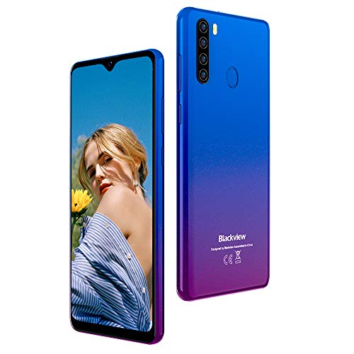 pequeñas Teléfono 4G Gratis, Blackview A80 Pro Free Android 10 Smartphone, 13MP Quad Rear Camera, 6.49inch HD + Water Drop Screen, 4GB + 64GB, 4680 mAh Battery, Helio P25 Octa Core Phone – Azul