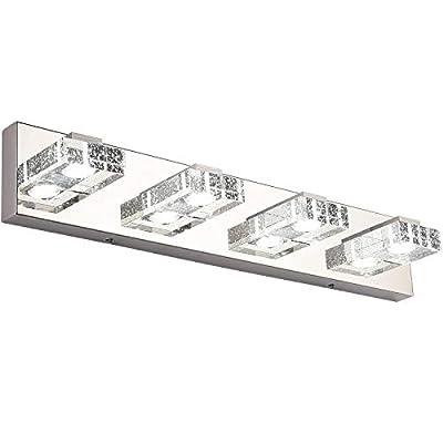 Dimmable Bathroom Light, SOLFART 4 Lights Modern Glass Stainless Steel Vanity Wall Light Over Mirror Long LED Bathroom Lighting Fixtures