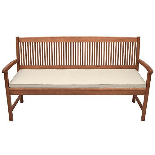 Beautissu Coussin pour Banc de Jardin, terrasse, Balcon Base BK - balancelle - Banquette - Assise Confortable - 150x48x5cm Nature