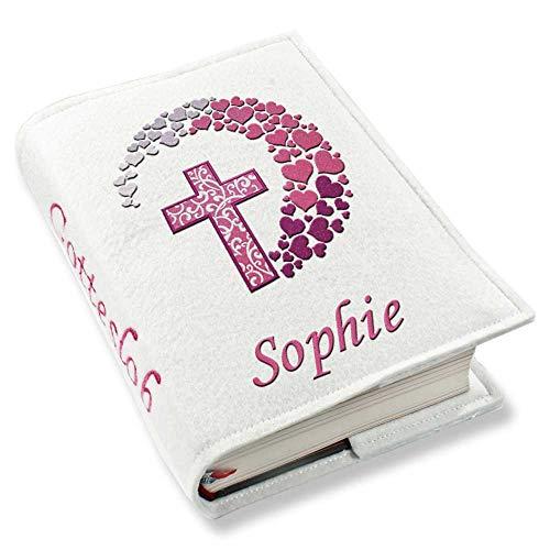 Gotteslob Gotteslobhülle Kreuz Herzen pink Kunstleder mit Namen bestickt weiß, Farbe:weiß