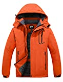 Skieer Men's Mountain Waterproof Ski Jacket Winter Rain Jacket Warm Fleece Snow Coat Orange L