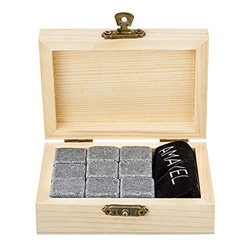 AMAVEL Whiskysteine in edler Holzbox – Standard – 9 geschmacksneutrale Kühlsteine für Whisky inkl. Aufbewahrungsbox – Wiederverwendbare Eiswürfel aus Granit – Originelle Geschenk-Idee für Männer