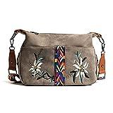 MIMITU Bolso de tela abrasivo para mujer, bolso bordado a la moda, bolsos cruzados para mujer, bolso de hombro multifunción de diseñador, gris, 33 cm x 10 cm x 20 cm