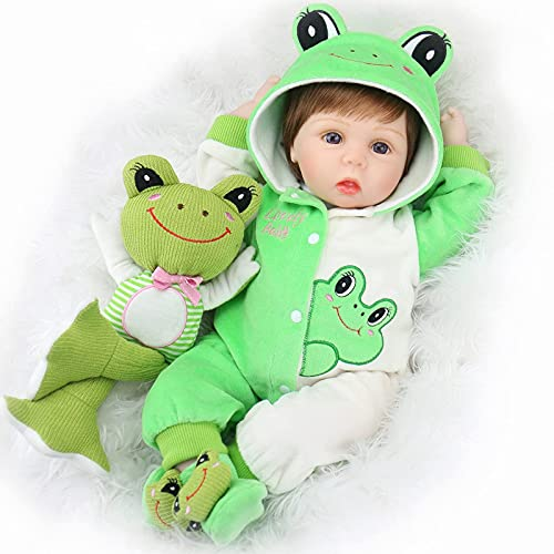 Aori Reborn Baby Dolls 22 Inch Realistic Newborn Baby Dolls Lifelike Weighted Reborn Dolls with Green Frog Outfits and Frog Toy Great Birthday Set for Kids