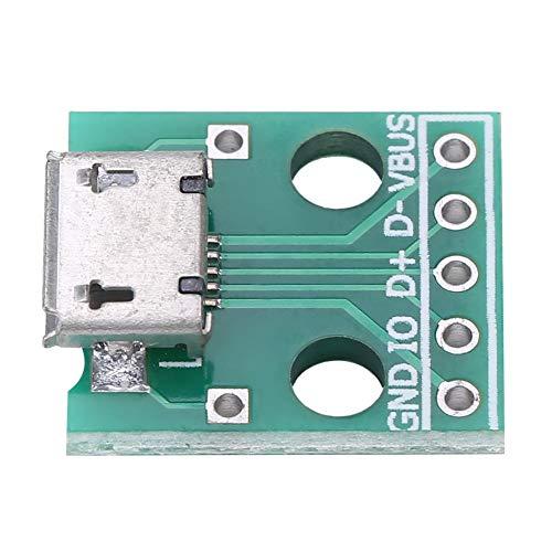 Akozon Micro USB Buchse, 10Pcs Micro USB Buchse zum DIP Adapter Board 5 Pin 2.54mm Pitch für DIY USB Netzteil/Steckbrett