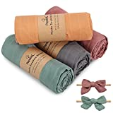 [4 Pack] Papablic Baby Swaddle Blanket, Breathable Muslin Swaddle Blanket for Boys & Girls, 70% Bamboo & 30% Cotton Receiving Blanket, Solid Color, Large 47 x 47 inches, Bonus with 2 Hair Bows