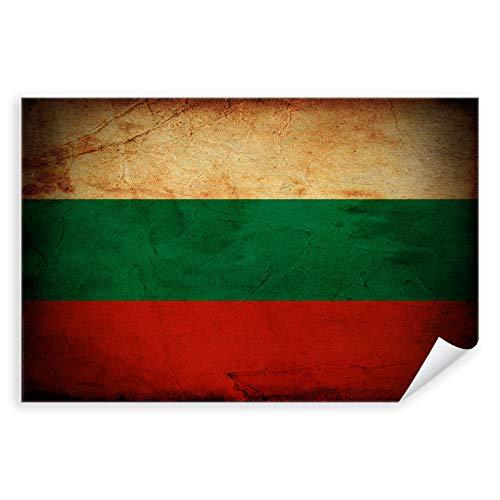 Postereck - 0291 - Vintage Flagge, Fahne Bulgarien Sofia - Unterricht Klassenzimmer Schule Wandposter Fotoposter Bilder Wandbild Wandbilder - Poster mit Rahmen - 29,0 cm x 19,0 cm