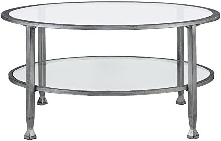 Best SEI Furniture Jaymes Metal & Glass Round, Coffee Table, Silver/Black Distressing
