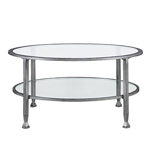 SEI Furniture Jaymes Metal & Glass Round 2-Tier, Coffee Table, Silver/Black Distressing