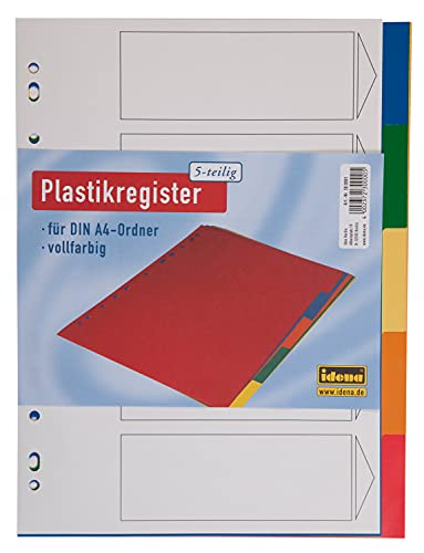 Idena 300001 - Register für DIN A4, aus Kunststoff, 5-teilig, volldeckend, bunt, 1 Stück