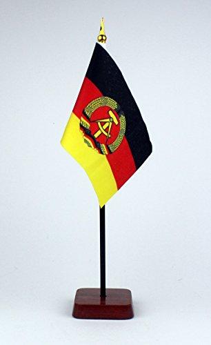 Buddel-Bini Kleine Tischflagge DDR Deutsche Demokratische Republik 15x10 cm mit Tischflaggenständer 30 cm aus Holz, sehr standfest
