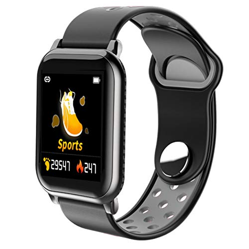 Pedómetro de fitness Presión impermeable Reloj inteligente, Actividad Health Color Pantalla Toque Pantalla de sangre con cámara de sueño Monitor de ritmo cardíaco para banda deportiva,Black gray
