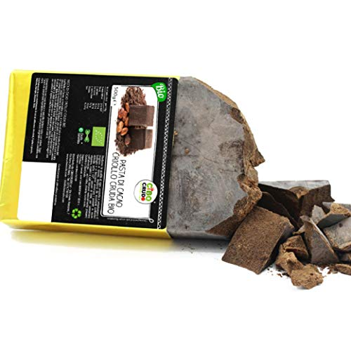 CiboCrudo Pasta di Cacao Biologica Intera Cruda, Cioccolato Puro al 100% - 500gr Cocoa Liquor Raw Organic, Qualità Criollo, dalle Piantagioni Bio del Perù, Etichette in Italiano