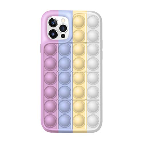 ZANLION Fidget Toys Phone Case,Push Pop Bubble Protecive Case Relieve Anxiety and Autism,Silicone Anti-Fall Shockproof Cover (Pink-White,for iPhone 11ProMAX)