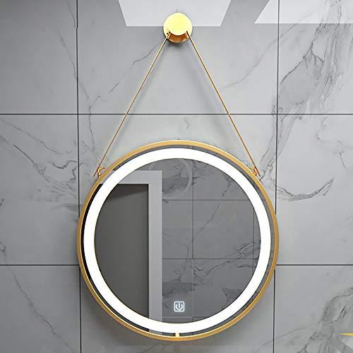 Runder LED Bad Spiegel, Wandspiegel Badezimmerspiegel LED mit Metallrahmen, Kosmetikspiegel Dekorativer Spiegel mit Beleuchtendem Berührungsschalter, Weißes Licht 6000K-6500K, Schwarz/Gold