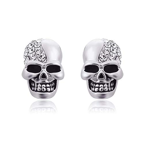 NMD&LR Mens Stud Earrings, Retro Glossy Skull Full of Diamond Earrings for Men (3 Colors), Personalized Earrings Suitable for Perfect and Boyfriend Gifts