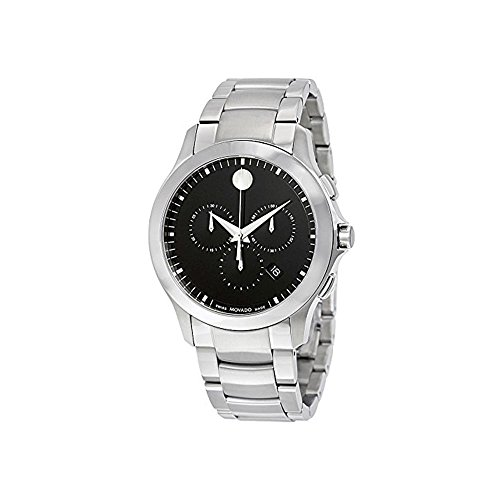 MOVADO MEN'S 42MM STEEL BRACELET & CASE SWISS QUARTZ BLACK DIAL WATCH...